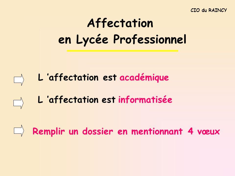 CIO du RAINCY L affectation est académique L affectation est informatisée Affectation en Lycée Professionnel Remplir un dossier en mentionnant 4 vœux