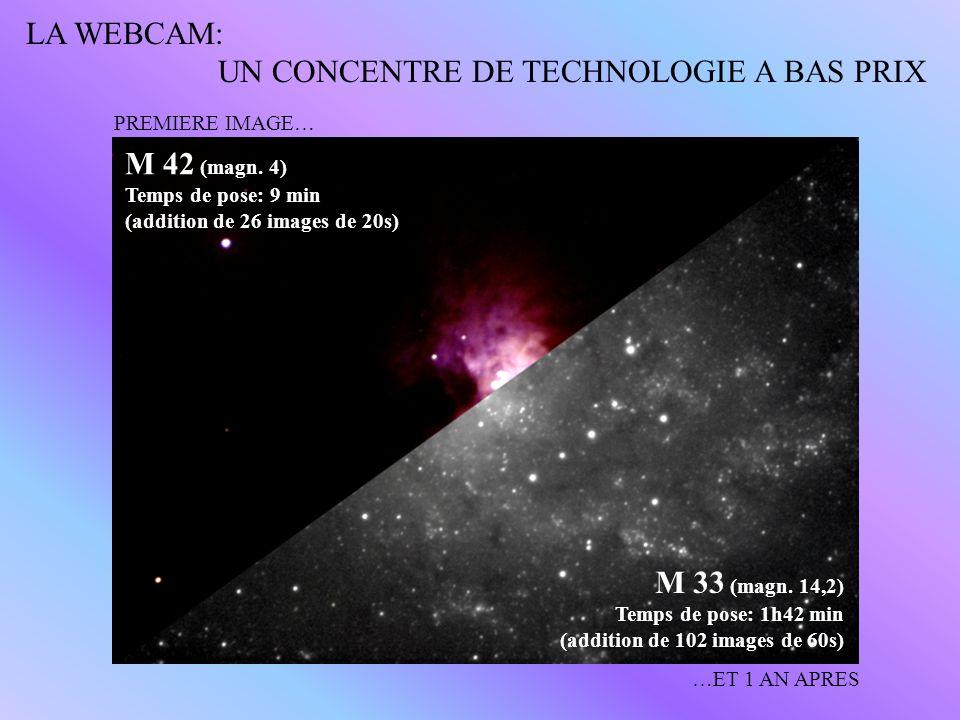 PREMIERE IMAGE… …ET 1 AN APRES M 42 (magn. 4) Temps de pose: 9 min (addition de 26 images de 20s) M 33 (magn. 14,2) Temps de pose: 1h42 min (addition