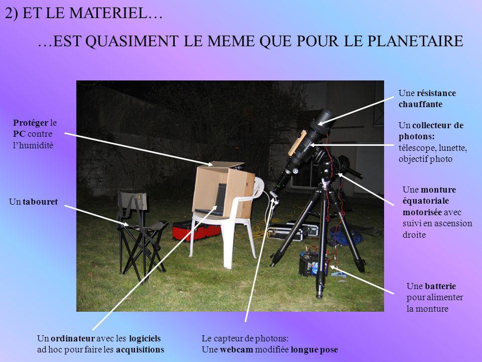 2) ET LE MATERIEL… …EST QUASIMENT LE MEME QUE POUR LE PLANETAIRE Une monture équatoriale motorisée avec suivi en ascension droite Un collecteur de pho