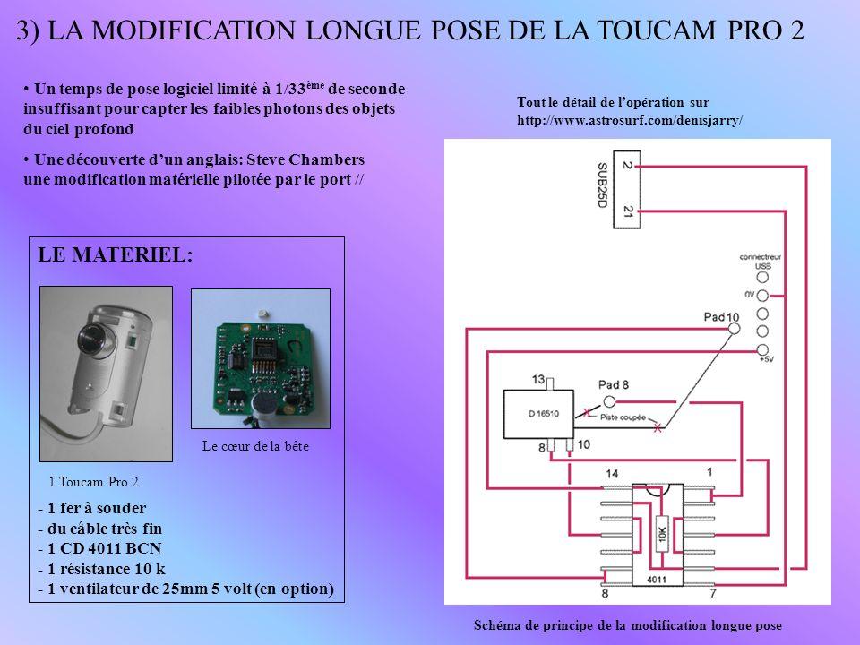 3) LA MODIFICATION LONGUE POSE DE LA TOUCAM PRO 2 Une découverte dun anglais: Steve Chambers une modification matérielle pilotée par le port // Schéma