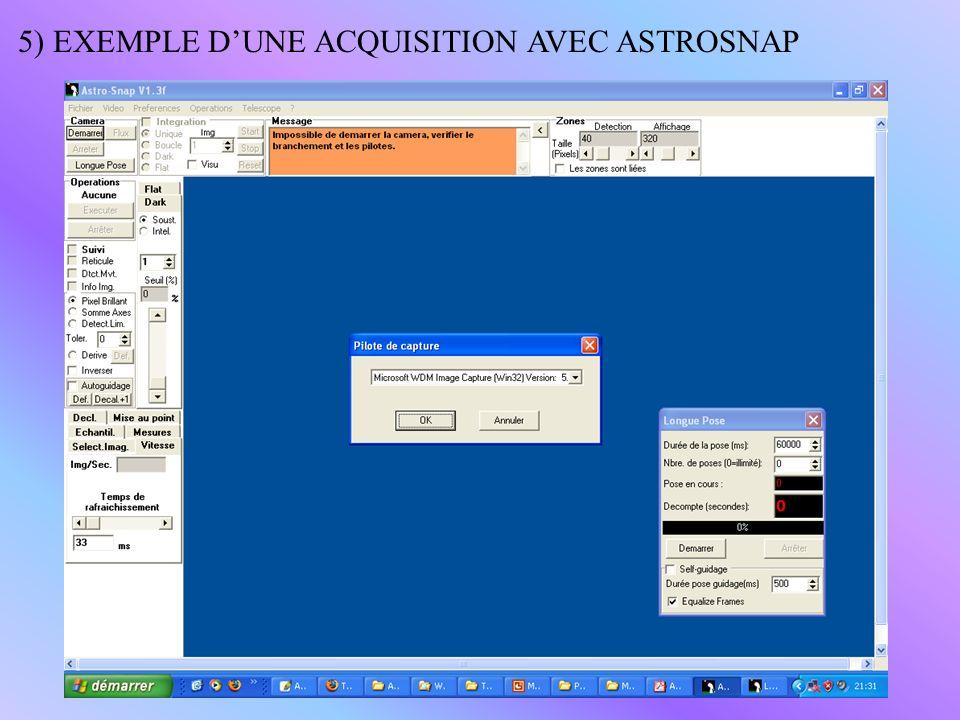 5) EXEMPLE DUNE ACQUISITION AVEC ASTROSNAP