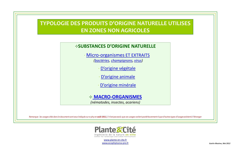 Guérin Maxime, Plante & Cité, Août 2011 TYPOLOGIE DES PRODUITS DORIGINE NATURELLE UTILISES EN ZONES NON AGRICOLES Retour à la page daccueil : MACRO-ORGANISMES Quel est sa nature .