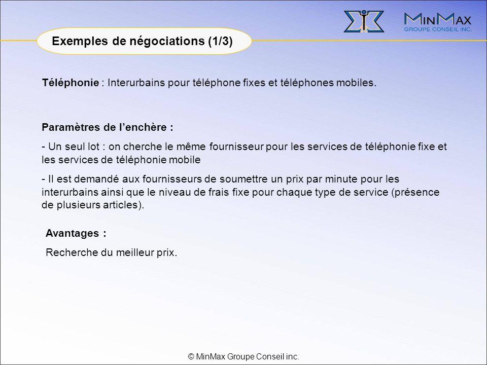 © MinMax Groupe Conseil inc. Téléphonie : Interurbains pour téléphone fixes et téléphones mobiles.