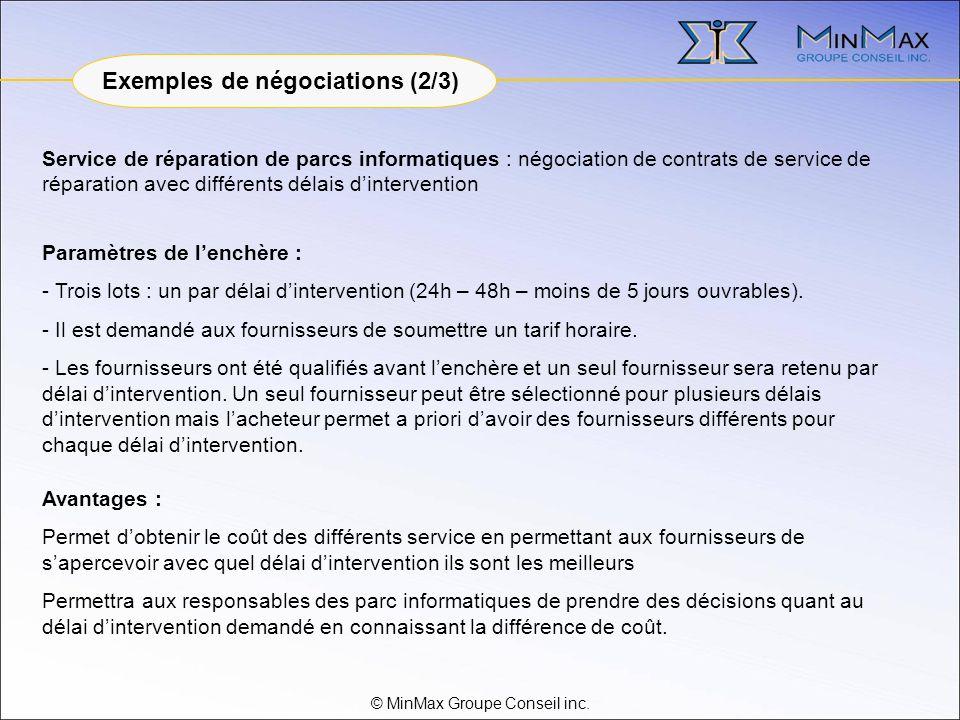 © MinMax Groupe Conseil inc. Service de réparation de parcs informatiques : négociation de contrats de service de réparation avec différents délais di