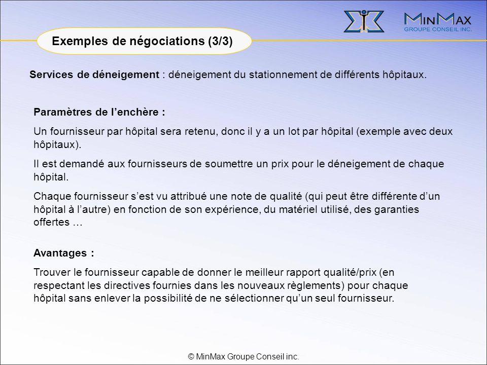 © MinMax Groupe Conseil inc. Services de déneigement : déneigement du stationnement de différents hôpitaux. Avantages : Trouver le fournisseur capable