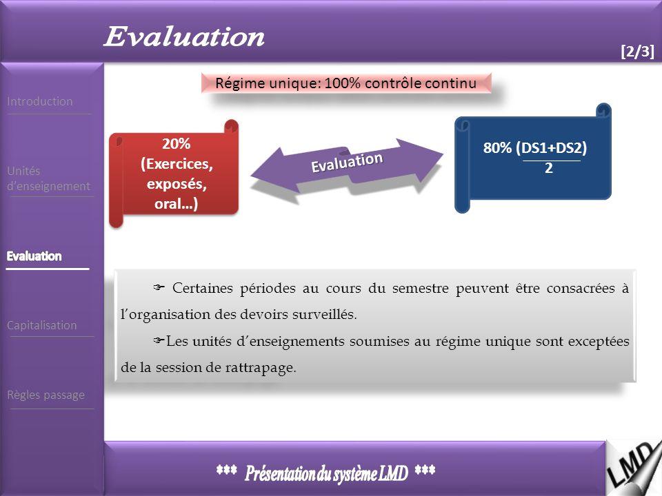 7 [2/3] 2 Régime unique: 100% contrôle continu 20% (Exercices, exposés, oral…) 80% (DS1+DS2) 2 Evaluation Certaines périodes au cours du semestre peuvent être consacrées à lorganisation des devoirs surveillés.