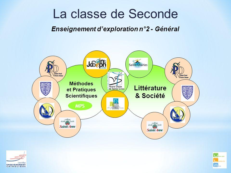 La classe de Seconde Enseignement dexploration n°2 - Général Méthodes et Pratiques Scientifiques Littérature & Société MPS