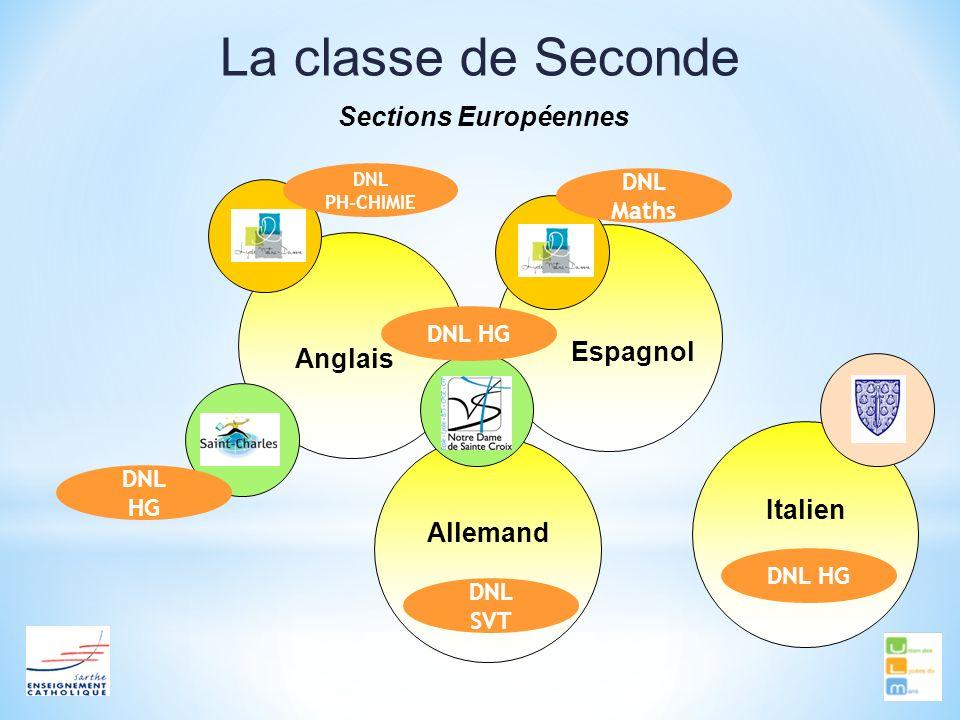La classe de Seconde Sections Européennes AnglaisEspagnol Allemand Italien DNL HG DNL PH-CHIMIE DNL HG DNL SVT DNL HG DNL Maths