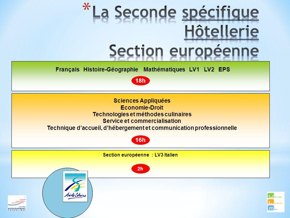 Français Histoire-Géographie Mathématiques LV1 LV2 EPS Sciences Appliquées Economie-Droit Technologies et méthodes culinaires Service et commercialisa