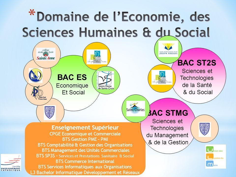 BAC ES Economique Et Social Enseignement Supérieur CPGE Economique et Commerciale BTS Gestion PME – PMI BTS Comptabilité & Gestion des Organisations B
