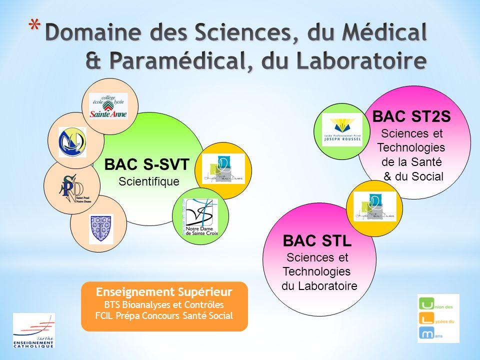 BAC S-SVT Scientifique Enseignement Supérieur BTS Bioanalyses et Contrôles FCIL Prépa Concours Santé Social BAC STL Sciences et Technologies du Labora