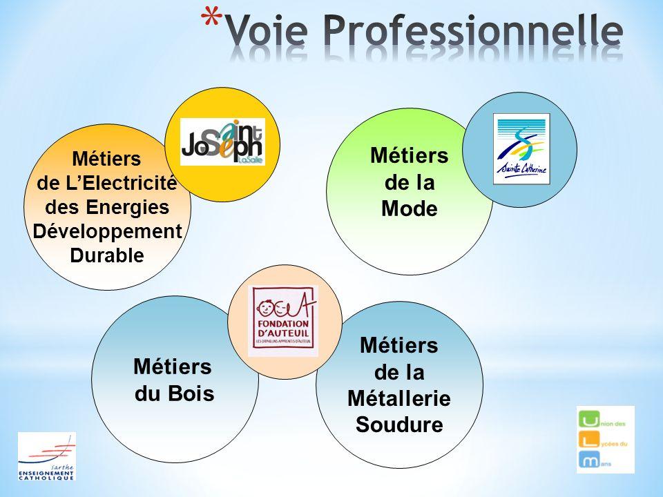 Métiers de la Métallerie Soudure Métiers de LElectricité des Energies Développement Durable Métiers de la Mode Métiers du Bois
