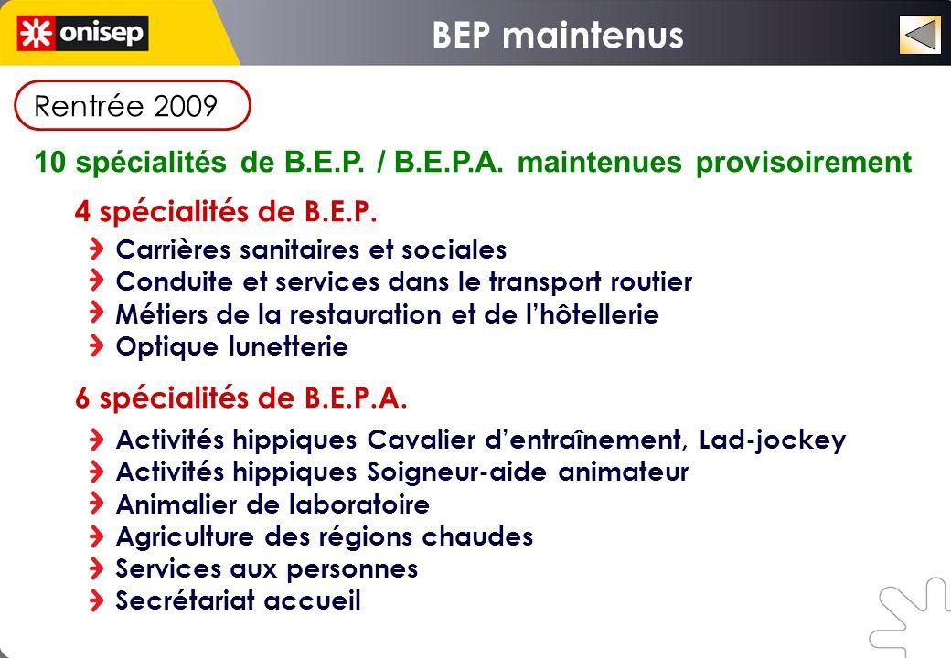 Rentrée 2009 10 spécialités de B.E.P. / B.E.P.A. maintenues provisoirement 4 spécialités de B.E.P. Carrières sanitaires et sociales Conduite et servic