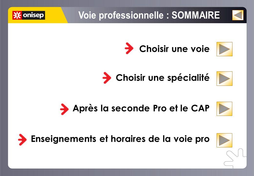 Choisir une voie Choisir une spécialité Après la seconde Pro et le CAP Enseignements et horaires de la voie pro