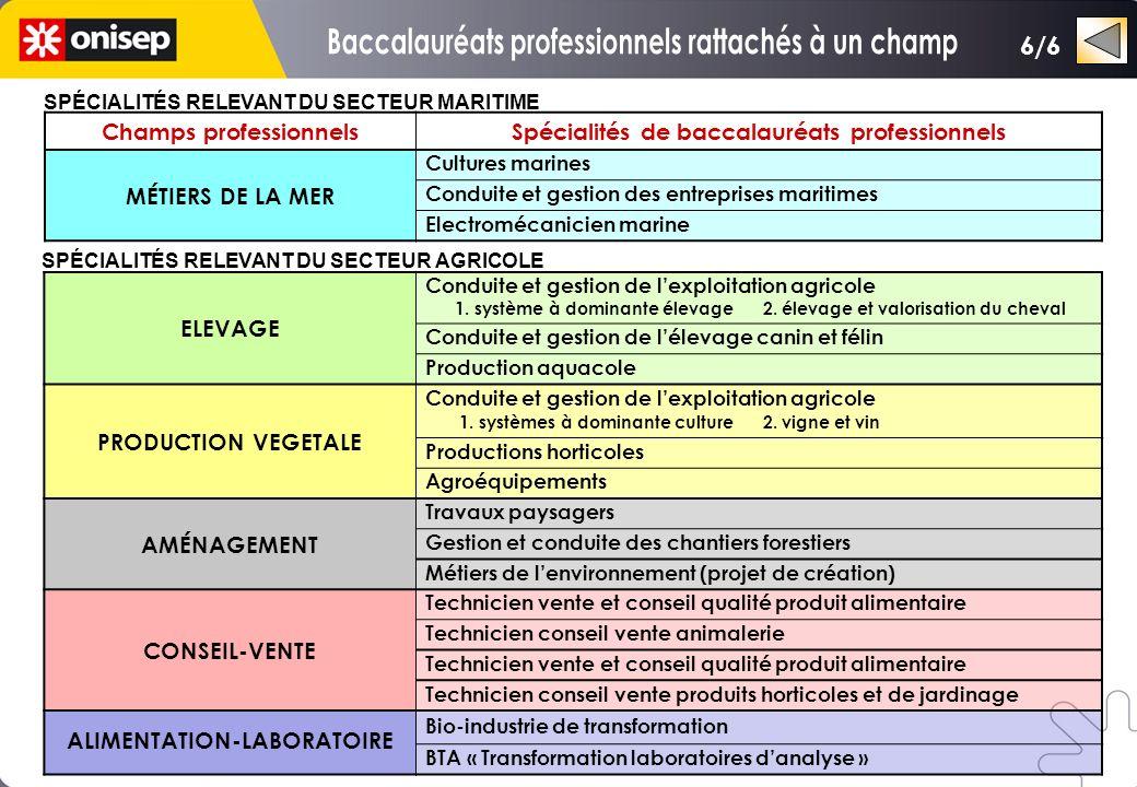 Champs professionnelsSpécialités de baccalauréats professionnels MÉTIERS DE LA MER Cultures marines Conduite et gestion des entreprises maritimes Elec
