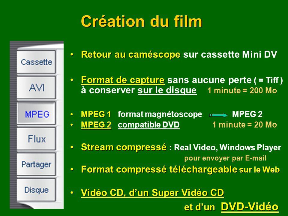 Retour au caméscopeRetour au caméscope sur cassette Mini DV Format de captureFormat de capture sans aucune perte ( = Tiff ) à conserver sur le disque 1 minute = 200 Mo MPEG 1MPEG 1 format magnétoscope MPEG 2 MPEG 2MPEG 2 compatible DVD 1 minute = 20 Mo Stream compresséStream compressé : Real Video, Windows Player pour envoyer par E-mail Format compressé téléchargeable sur le WebFormat compressé téléchargeable sur le Web Vidéo CD, dun Super Vidéo CDVidéo CD, dun Super Vidéo CD et dun DVD-Vidéo Création du film
