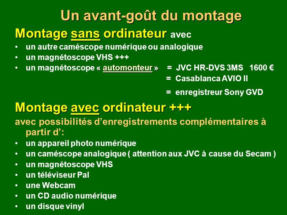Montage sans ordinateur Montage sans ordinateur avec un autre caméscope numérique ou analogique un magnétoscope VHS +++ « automonteur »un magnétoscope