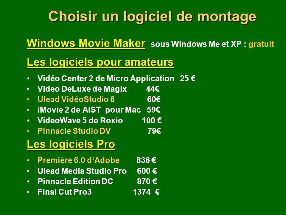 Windows Movie Maker Windows Movie Maker sous Windows Me et XP : gratuit Les logiciels pour amateurs Vidéo Center 2 de Micro Application 25 Video DeLuxe de Magix 44 Ulead VidéoStudio 6 60 iMovie 2 de AIST pour Mac 59 VideoWave 5 de Roxio 100 Pinnacle Studio DV 79 Les logiciels Pro Première 6.0 dAdobe 836 Ulead Media Studio Pro 600 Pinnacle Edition DC 870 Final Cut Pro3 1374 Choisir un logiciel de montage