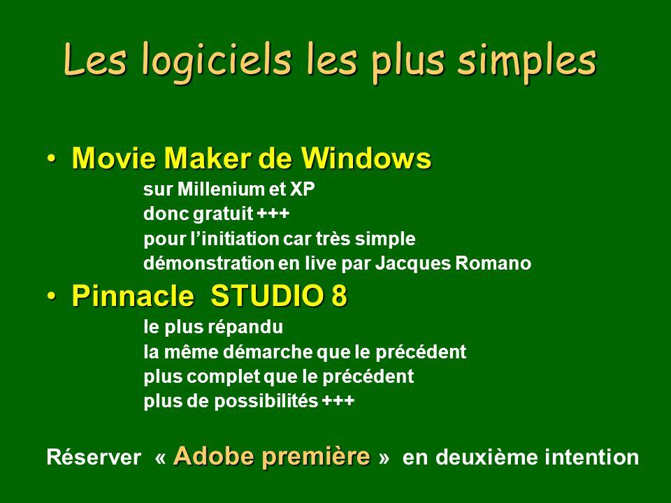 Les logiciels les plus simples Movie Maker de WindowsMovie Maker de Windows sur Millenium et XP donc gratuit +++ pour linitiation car très simple démonstration en live par Jacques Romano Pinnacle STUDIO 8Pinnacle STUDIO 8 le plus répandu la même démarche que le précédent plus complet que le précédent plus de possibilités +++ Adobe première Réserver « Adobe première » en deuxième intention