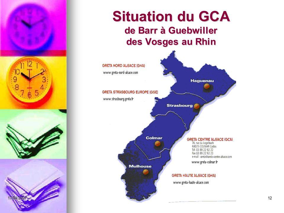 17/04/2007Christine WITTEVRONGEL12 Situation du GCA de Barr à Guebwiller des Vosges au Rhin