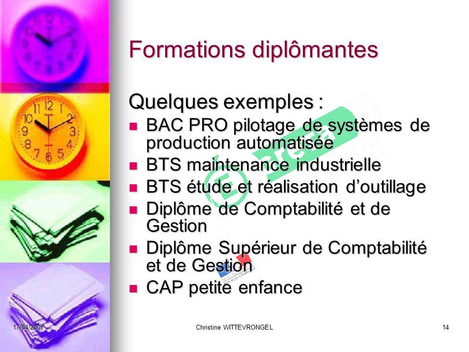 17/04/2007Christine WITTEVRONGEL14 Formations diplômantes Quelques exemples : BAC PRO pilotage de systèmes de production automatisée BAC PRO pilotage