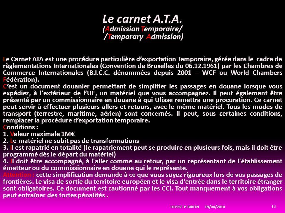 19/04/2014ULISSE.P.BRION 11 Le carnet A.T.A.