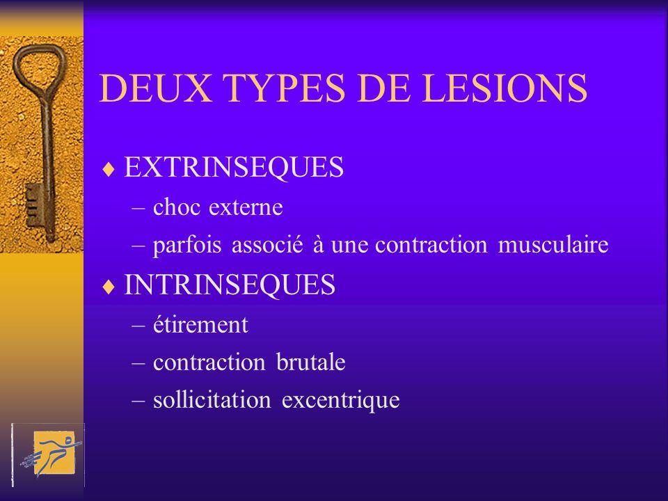 DEUX TYPES DE LESIONS EXTRINSEQUES –choc externe –parfois associé à une contraction musculaire INTRINSEQUES –étirement –contraction brutale –sollicita