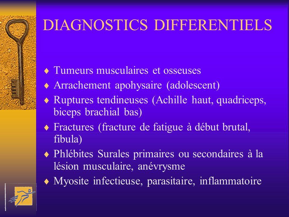 DIAGNOSTICS DIFFERENTIELS Tumeurs musculaires et osseuses Arrachement apohysaire (adolescent) Ruptures tendineuses (Achille haut, quadriceps, biceps b