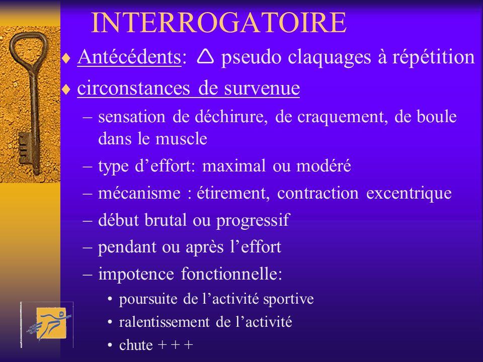 INTERROGATOIRE Antécédents: pseudo claquages à répétition circonstances de survenue –sensation de déchirure, de craquement, de boule dans le muscle –t