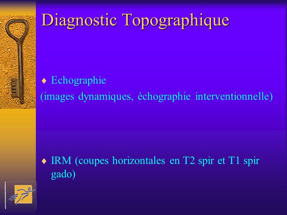 Diagnostic Topographique Echographie (images dynamiques, échographie interventionnelle) IRM (coupes horizontales en T2 spir et T1 spir gado)
