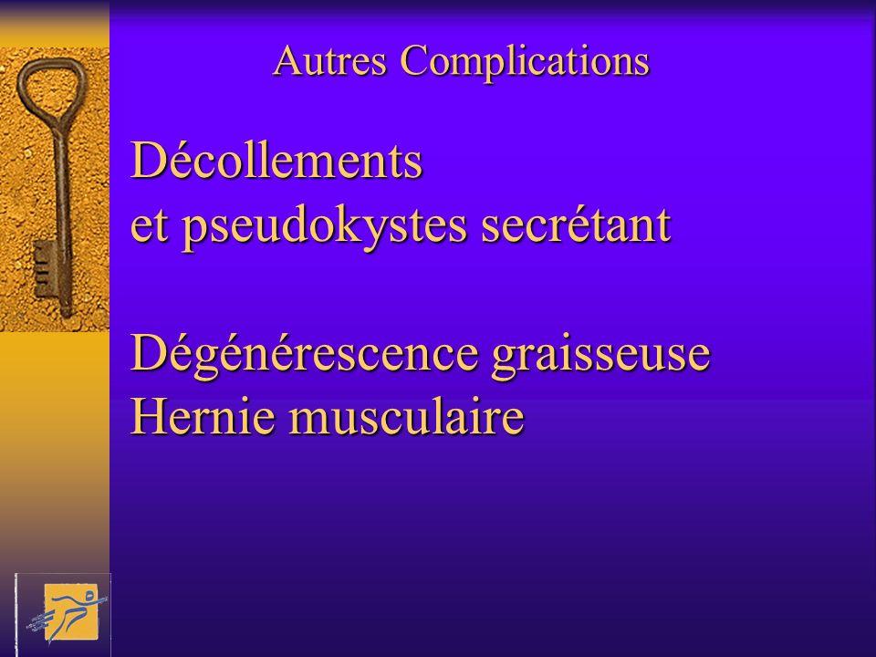Autres Complications Décollements et pseudokystes secrétant Dégénérescence graisseuse Hernie musculaire
