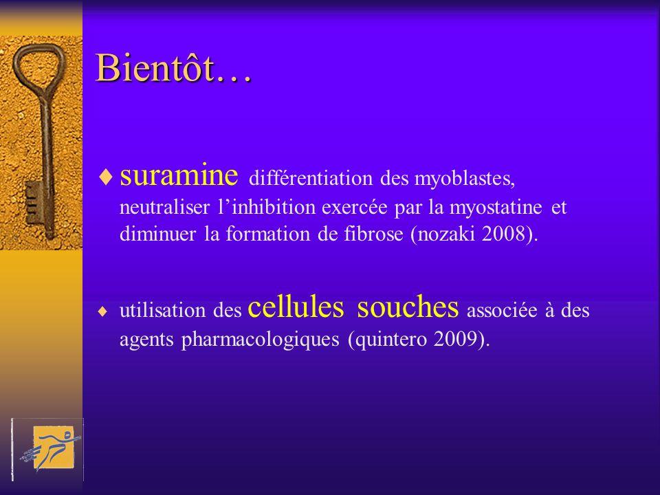Bientôt… suramine différentiation des myoblastes, neutraliser linhibition exercée par la myostatine et diminuer la formation de fibrose (nozaki 2008).