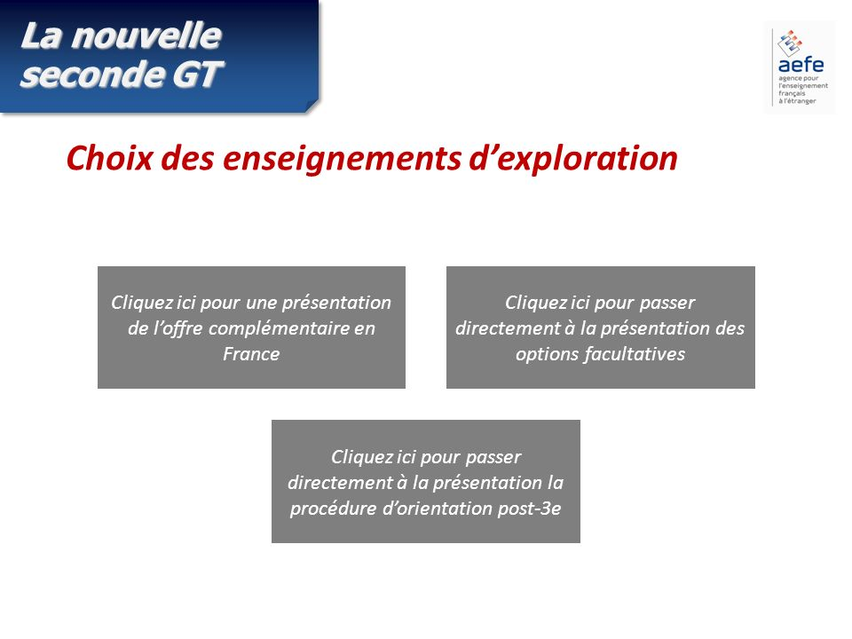 La nouvelle seconde GT Choix des enseignements dexploration Cliquez ici pour une présentation de loffre complémentaire en France Cliquez ici pour passer directement à la présentation des options facultatives Cliquez ici pour passer directement à la présentation la procédure dorientation post-3e