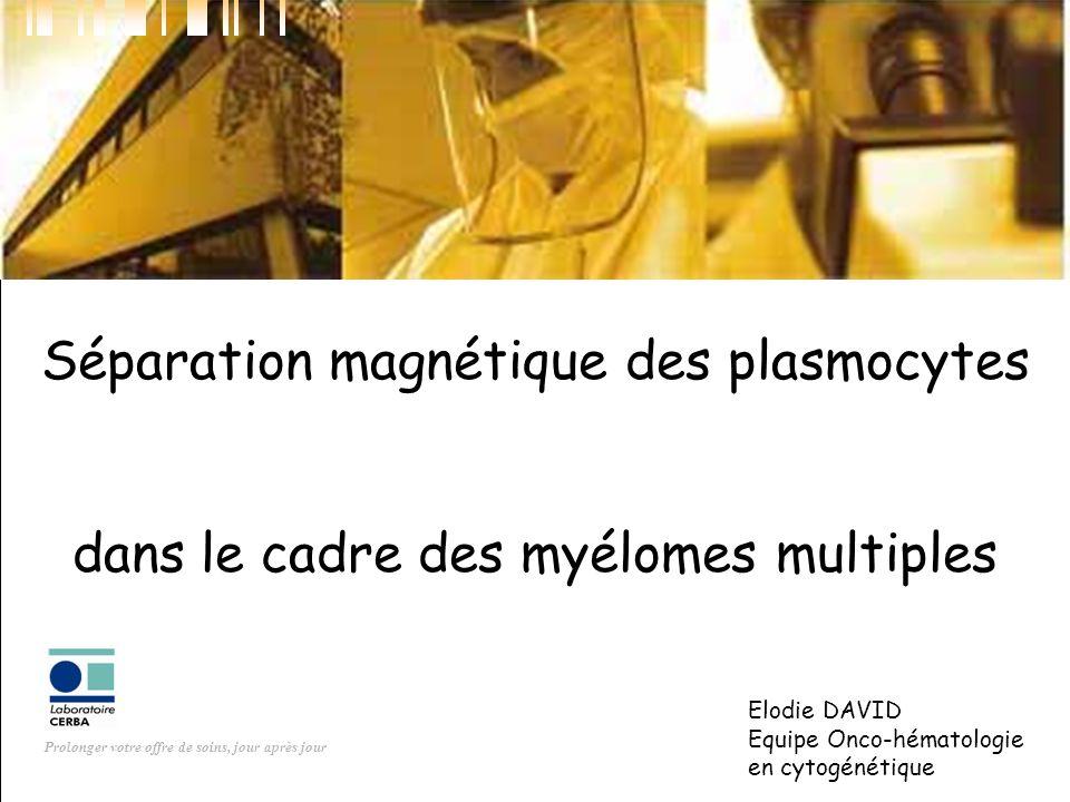 Prolonger votre offre de soins, jour après jour Séparation magnétique des plasmocytes dans le cadre des myélomes multiples Elodie DAVID Equipe Onco-hé