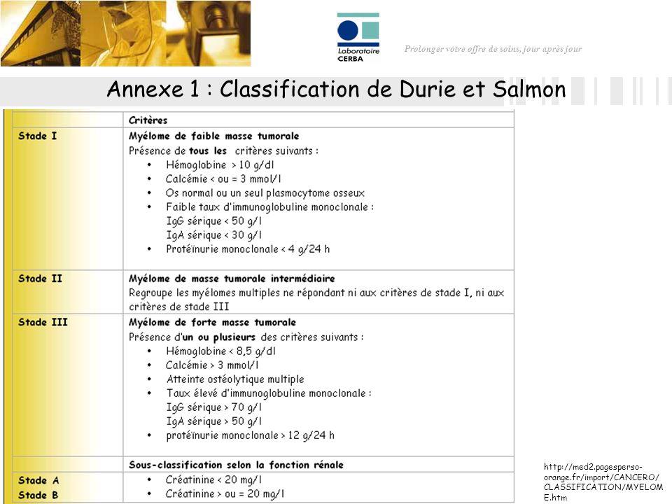 Prolonger votre offre de soins, jour après jour Annexe 1 : Classification de Durie et Salmon http://med2.pagesperso- orange.fr/import/CANCERO/ CLASSIF