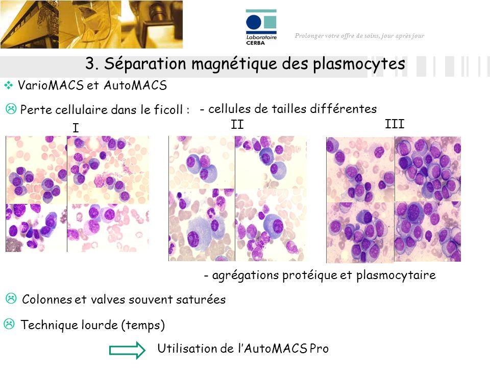 Prolonger votre offre de soins, jour après jour 3. Séparation magnétique des plasmocytes VarioMACS et AutoMACS Perte cellulaire dans le ficoll : Utili