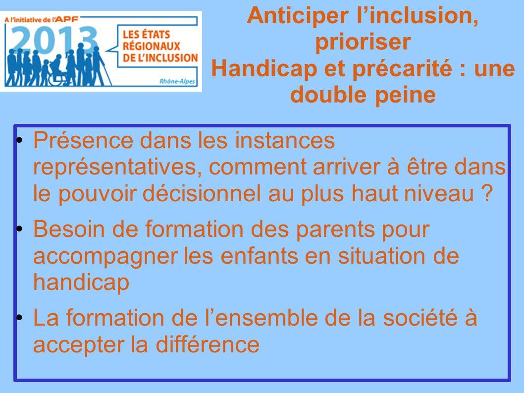 Anticiper linclusion, prioriser Handicap et précarité : une double peine Présence dans les instances représentatives, comment arriver à être dans le pouvoir décisionnel au plus haut niveau .
