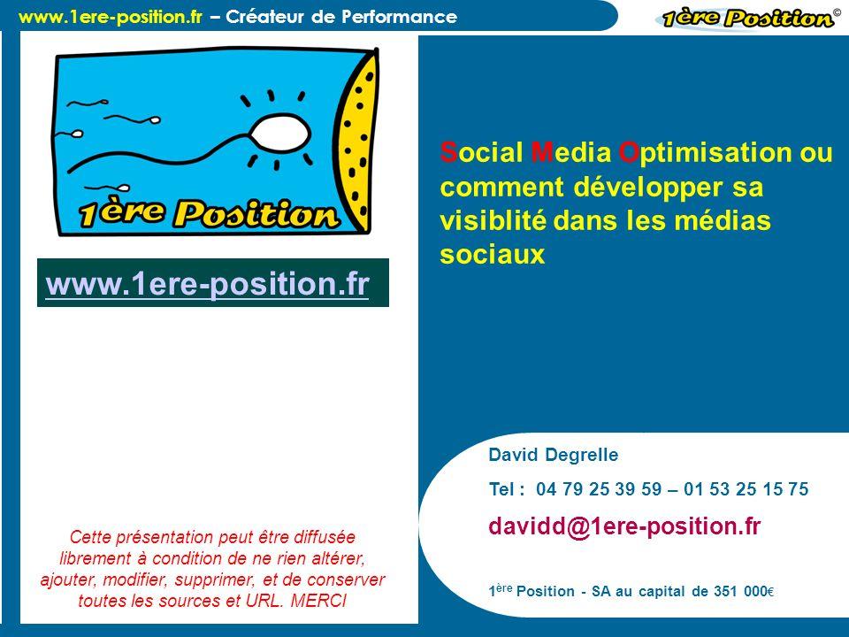 www.1ere-position.fr – Créateur de Performance Définition du Social Media Optimisation Social Media Optimisation (SMO), ou loptimisation des médias sociaux, est un ensemble de méthodes pour développer sa visibilité dans les blogs, wikis, forums, agrégateurs, plateformes de partage photos/vidéos, les réseaux sociaux.