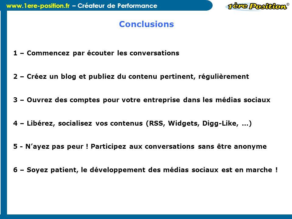www.1ere-position.fr – Créateur de Performance 1 – Commencez par écouter les conversations 2 – Créez un blog et publiez du contenu pertinent, régulièr