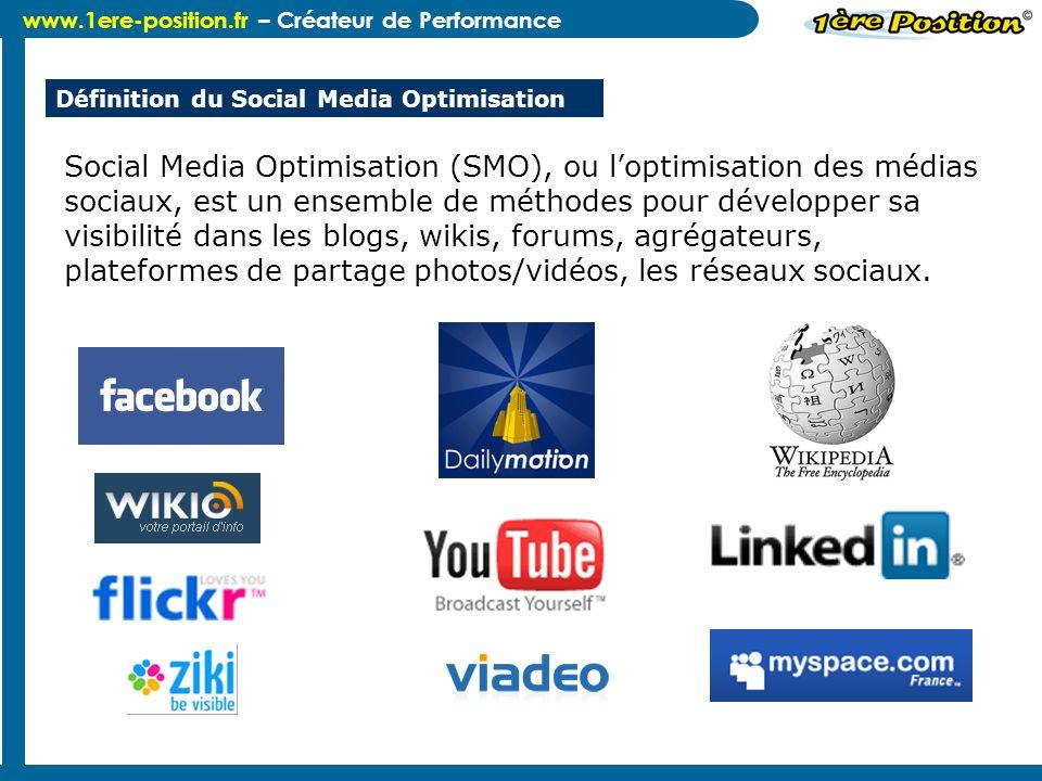 www.1ere-position.fr – Créateur de Performance Définition du Social Media Optimisation Social Media Optimisation (SMO), ou loptimisation des médias so