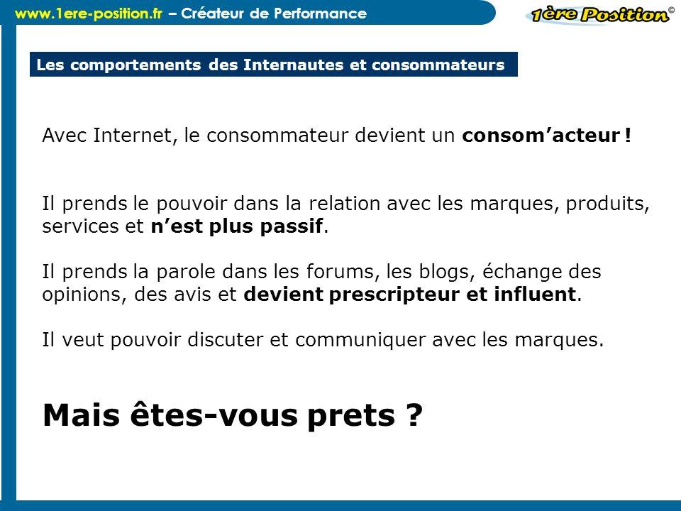 www.1ere-position.fr – Créateur de Performance Les comportements des Internautes et consommateurs Avec Internet, le consommateur devient un consomacte