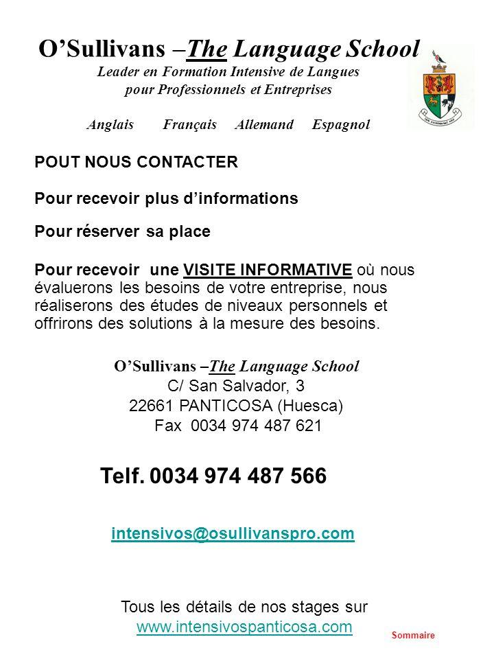 OSullivans –The Language School Leader en Formation Intensive de Langues pour Professionnels et Entreprises Anglais Français Allemand Espagnol Tous le