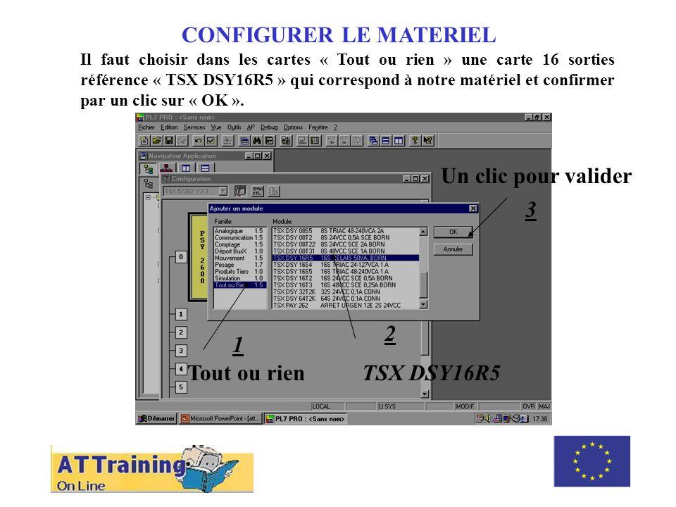 CONFIGURER LE MATERIEL Il faut choisir dans les cartes « Tout ou rien » une carte 16 sorties référence « TSX DSY16R5 » qui correspond à notre matériel
