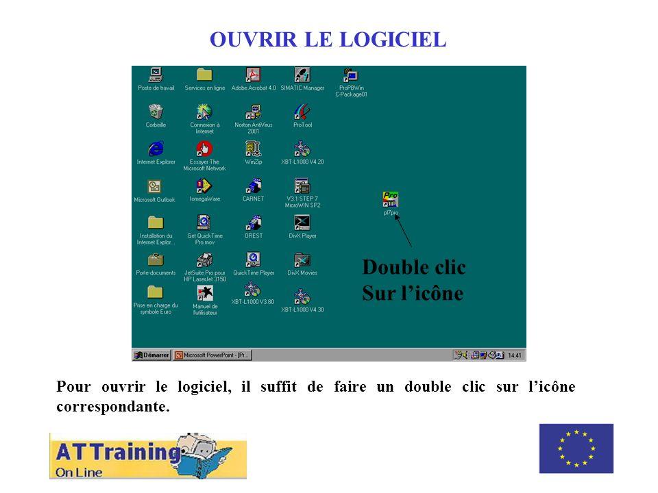 ROLE DES DIFFERENTS ELEMENTS OUVRIR LE LOGICIEL Pour ouvrir le logiciel, il suffit de faire un double clic sur licône correspondante. Double clic Sur