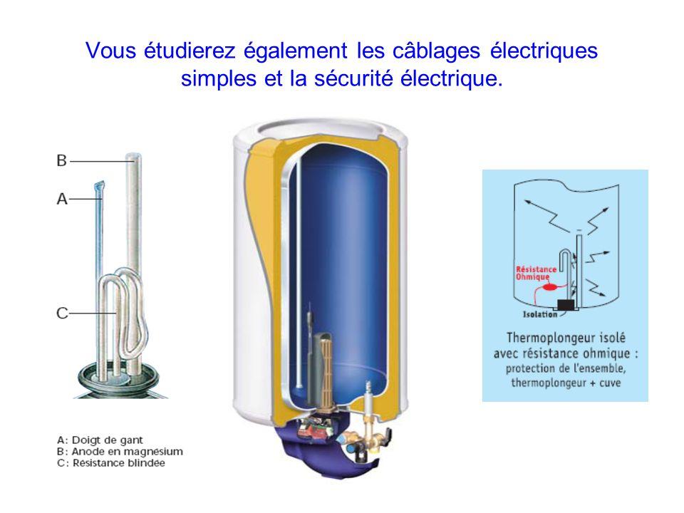 Vous étudierez également les câblages électriques simples et la sécurité électrique.