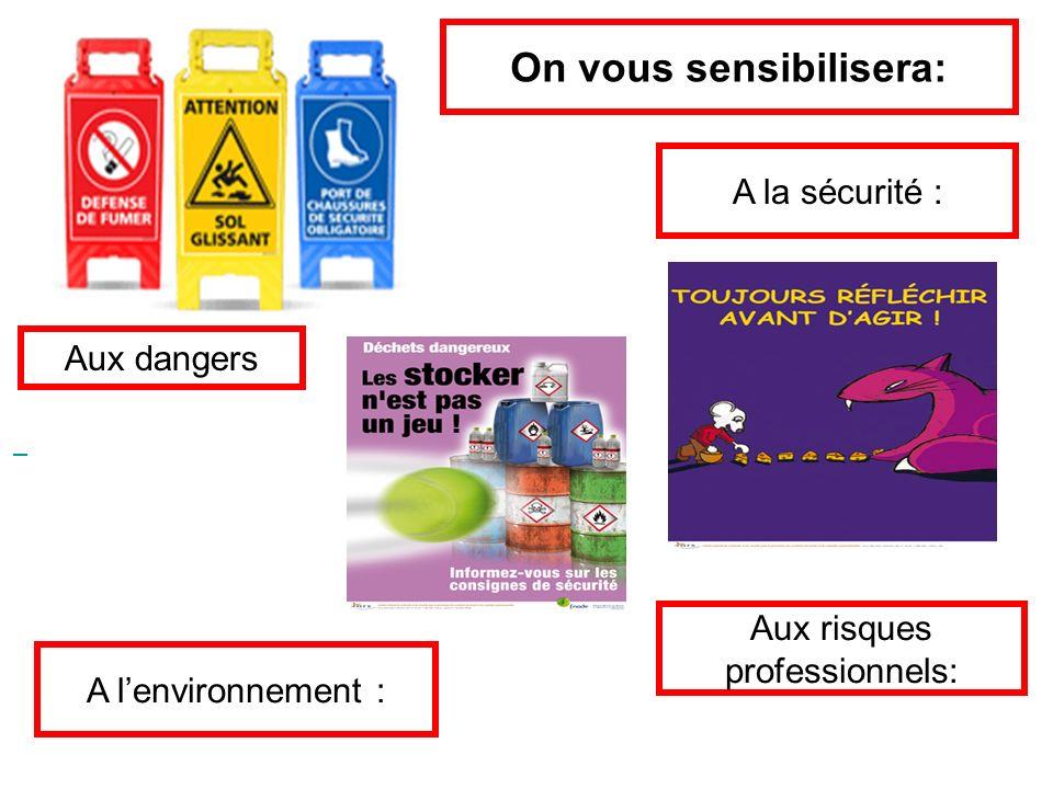On vous sensibilisera: A la sécurité : Aux risques professionnels: A lenvironnement : Aux dangers