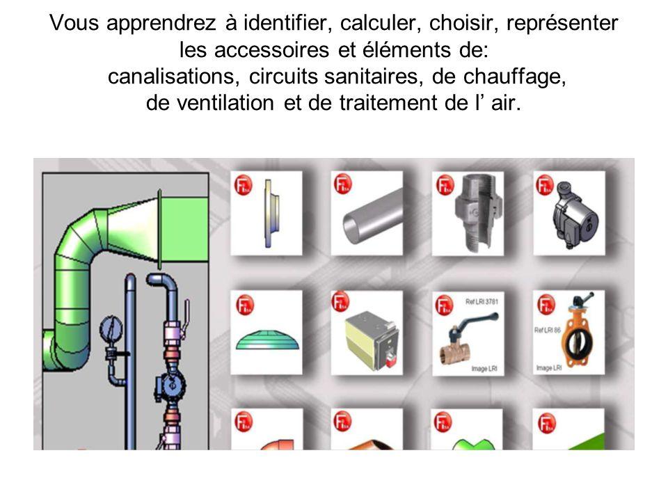 Vous apprendrez à identifier, calculer, choisir, représenter les accessoires et éléments de: canalisations, circuits sanitaires, de chauffage, de vent