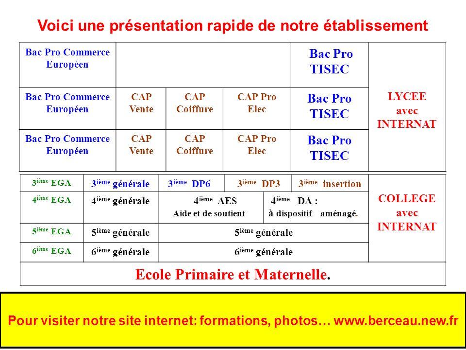Voici une présentation rapide de notre établissement Bac Pro Commerce Européen Bac Pro TISEC LYCEE avec INTERNAT Bac Pro Commerce Européen CAP Vente C