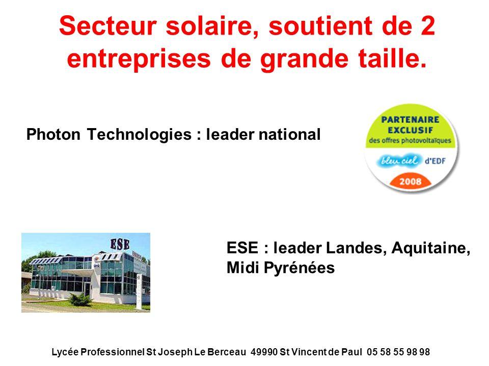 Secteur solaire, soutient de 2 entreprises de grande taille. Photon Technologies : leader national ESE : leader Landes, Aquitaine, Midi Pyrénées Lycée