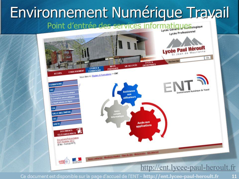 Ce document est disponible sur la page d'accueil de l'ENT - http://ent.lycee-paul-heroult.fr11 http://ent.lycee-paul-heroult.fr Gestion des comptes de